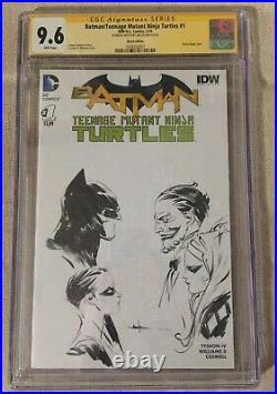 BATMAN TEENAGE MUTANT NINJA TURTLES #1 of 6 SIGNED & SKETCH BY JAE LEE CGC 9.6