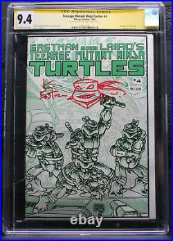 CGC SS 9.4 TEENAGE MUTANT NINJA TURTLES #4 1st Print Signed/Sketch Eastman 1985