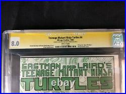 Cgc 8.0 Teenage Mutant Ninja Turtles #4! Signed & Sketched By Eastman! 1st Print
