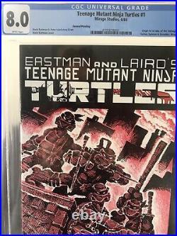 TEENAGE MUTANT NINJA TURTLES #1 CGC 8.0 White Pages 2nd Print 1984 Mirage Rare