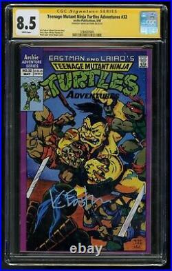 TMNT KEVIN EASTMAN Signed Teenage Mutant Ninja Turtles Adventures #32 CGC 8.5 SS