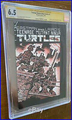 TMNT TEENAGE MUTANT NINJA TURTLES #1 CGC 6.5 SS Auto White Pages 1984 1st Print