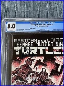 TMNT Teenage Mutant Ninja Turtles #1 Second 2nd Print, CGC 8.0 White Pages 1984