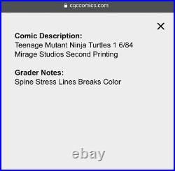 Teenage Mutant Ninja Turtles #1 CGC 9.4 2nd Printing Signed By Eastman