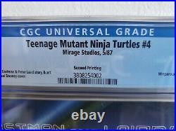 Teenage Mutant Ninja Turtles #4 Mirage Studios 1987 CGC 9.8 2nd Print! RARE